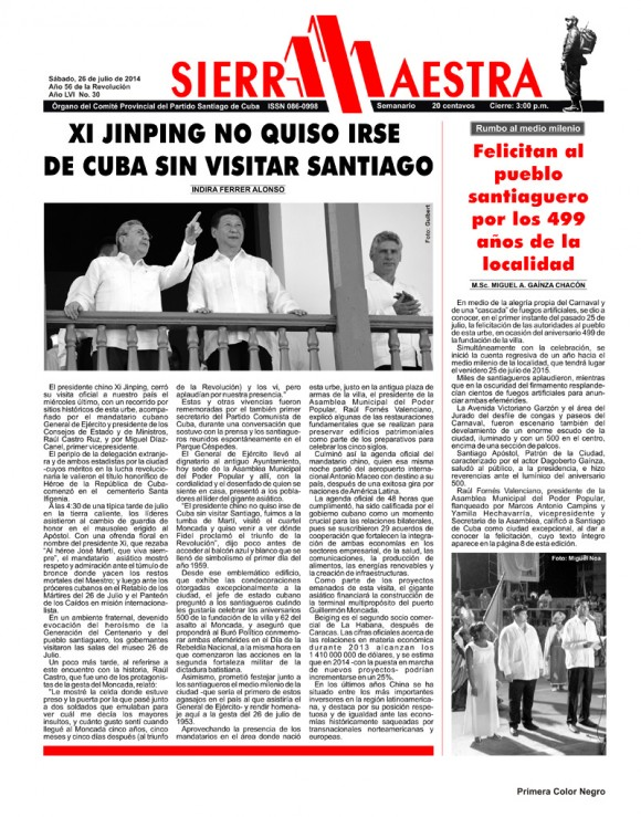 Periódico Sierra Maestra, provincia Santiago de Cuba, sábado 26 de julio de 2014.