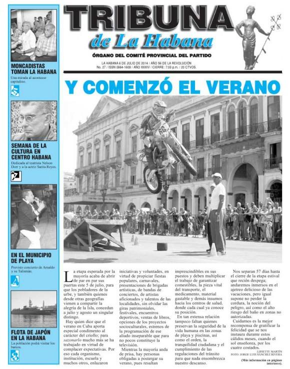Periódico Tribuna de La Habana, domingo 6 de julio de 2014