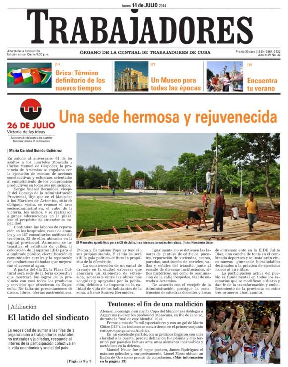 Periódico Trabajadores, lunes 14 de julio de 2014