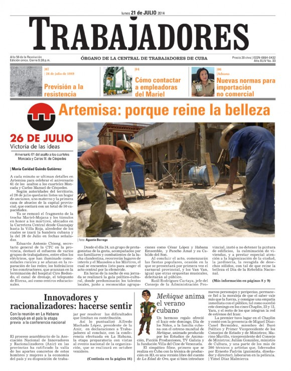 Periódico Trabajdores, lunes 21 de julio de 2014
