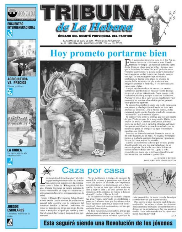 Periódico Tribuna de La Habana, domingo 20 de julio de 2014