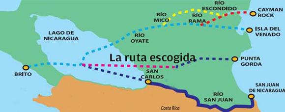 El camino seleccionado va desde la desembocadura del río Brito, el sur de Rivas, hasta la desembocadura del río Punta Gorda. En la construcción de la obra trabajarán más de 200 mil personas y se respetarán los principios ambientales. Foto: Tomada de Granma Internacional.