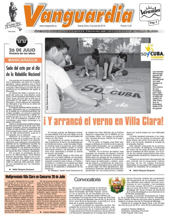 Periódico Vanguardia, provincia Villa Cara, sábado 5 de julio de 2014