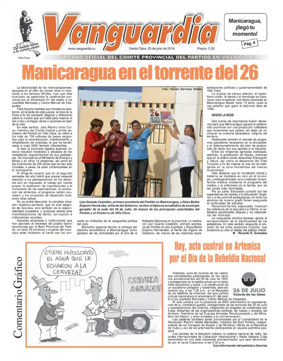 Periódico Vanguardia, provincia Villa Clara, sábado 26 de julio de 2014.