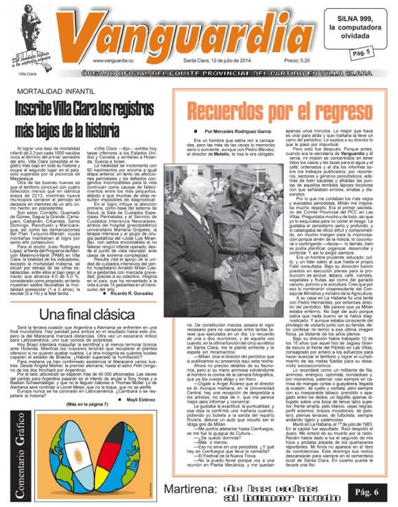 Periódico Vanguardia, provincia Villa Clara, sábado 12 de julio de 2014