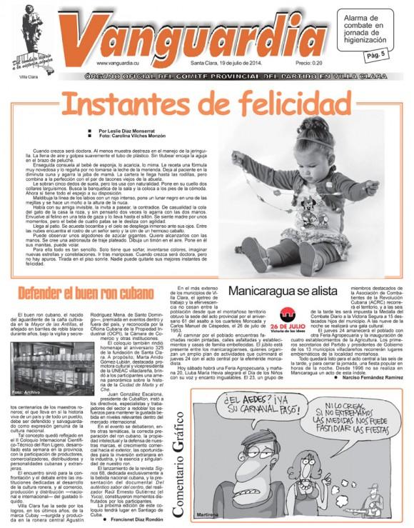 Periódico Vanguardia, provincia Villa Clara, sábado 19 de julio de 2014