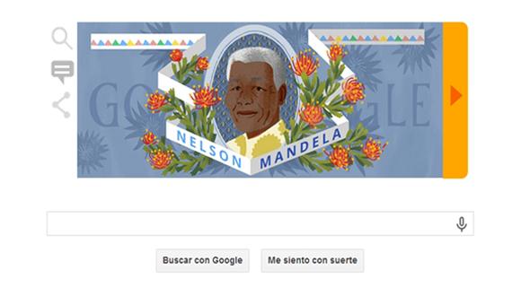Doodle de google rinde homenaje a Madiba con un breve recorrido por su vida.