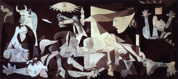 El gran mural de Picasso ha sido visto como la pintura simbólica de los horrores de la guerra—su destrucción, su crueldad. Fue dibujado por Pablo Picasso en 1937.