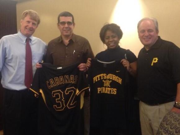 Making Ambassador Cabanas of Cuba & First Secretary Yanet Stable Cardenas @Pirates fans with @USRepMikeDoyle.