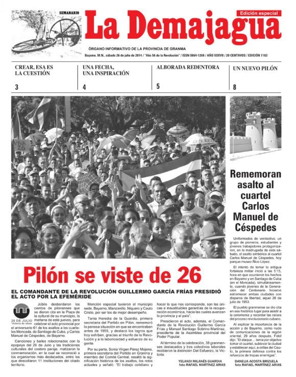 Periódico La Demajagua, provincia Granma, sábado 26 de julio de 2014.