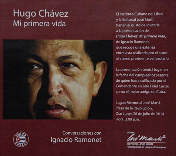 El texto está nutrido con excelentes fotos inéditas que marcan el paso del tiempo en la vida de Chávez, e ilustra la portada una excelente instantánea del rostro del líder bolivariano captado por el lente del fotorreportero cubano Ismael Francisco González.