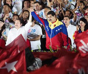 Maduro y Daniel Ortega en el acto por el aniversario de la Revolución sandinista. Foto: Prensa Presidencial Venezuela