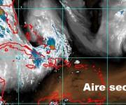 Mapa del traslado de polvo hacia el caribe.