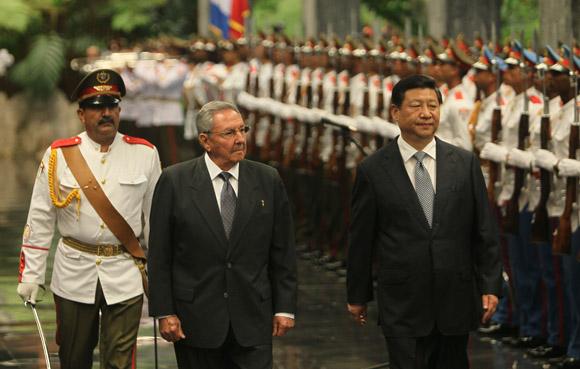 Acto de recibimiento del presidento de China