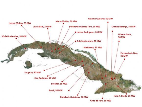 Mapa de las bioeléctricas que funcionarán en el país.