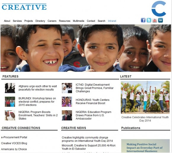 Portada de la página web de Creative Associates International Inc.