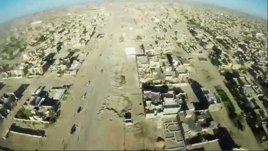 Una imagen tomada por el ISIS desde un drone sobre la ciudad de Faluya.