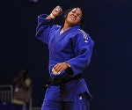 Cuban Onix Cortes celebrates during the