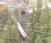 Accidente tren en los Alpes suizos. Foto: AP