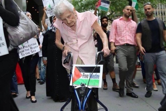 Admirable señora danesa marcha por Gaza.