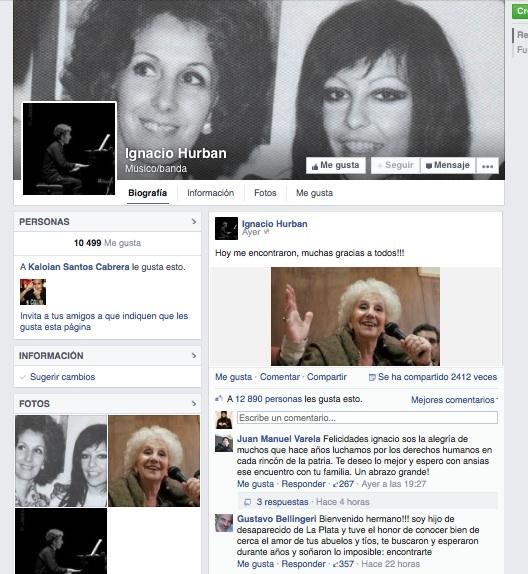 En Facebook, Ignacio Hurban cambió su perfil para incorporar una fotografía de su abuela y su madre.