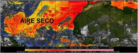 Imagen de satélite tratada en computadora. Se observa el aire seco que acompaña al Polvo del Sahara.