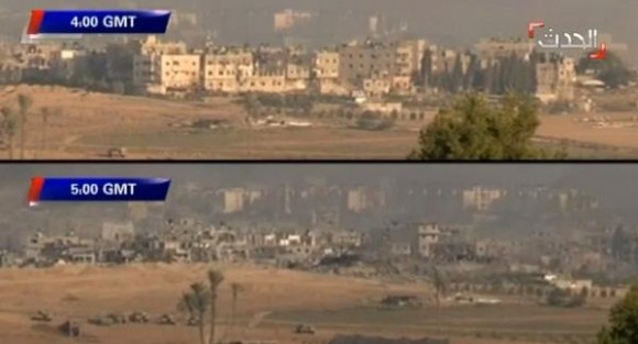 Israel desbarató un barrio de Gaza en una hora. Foto: