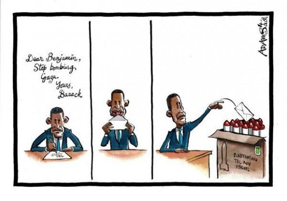 Querido Netanyahu: detén los misiles contra Gaza. Tuyo, Obama.