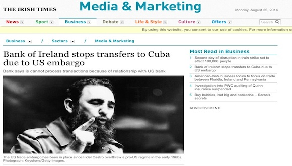 the irish times bloqueo cuba