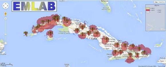 Zonas de cobertura actual de la TV digital. Foto/ RadioCuba/LACETEL.