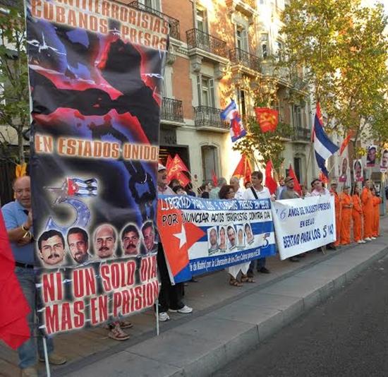 Demostración por Los Cinco en Madrid. Foto: Cubainformación