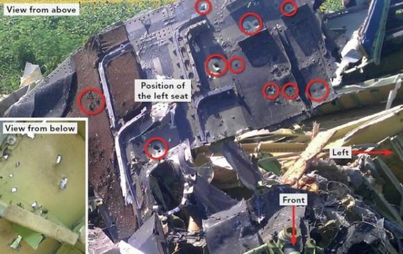 Imagen presentada durante el reporte preliminar de la colisión del vuelo MH17 publicado por la Junta Holandesa de Seguridad, en La Haya. Foto: Xinhua.
