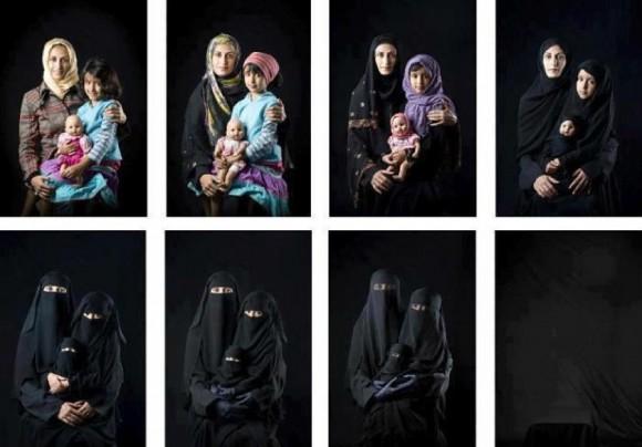 Boushra Al Moutawakel, la primera mujer fotógrafo profesional en el Yemen, juega con las prendas de vestir típicas de la mujer musulmana, cubriendo y descubriendo a sus modelos, ya sean hombres o mujeres, para explorar el progresivo cambio a la hora de cubrir el cuerpo que han experimentado las mujeres yemeníes en estos últimos años.