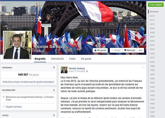 Nicolás Sarkozy Facebook.