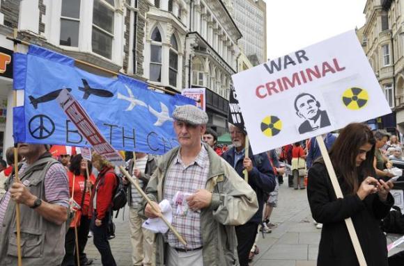 Protestas contra la cumbre de la OTAN en Gales 2
