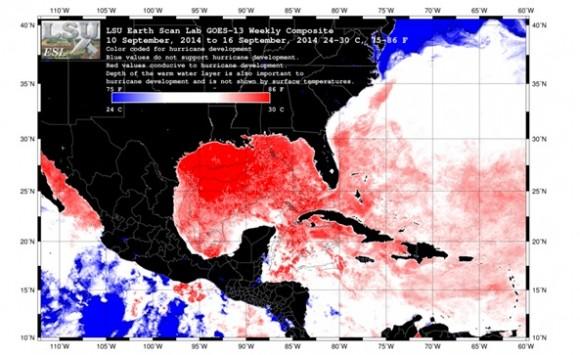 Temperatura Superficial del mar procesada a partir de los datos del satélite GOES para la semana del 10 al 16 de septiembre de 2014. Se muestran las zonas más favorables para la formación de huracanes, según la temperatura oceánica. Tomada de esl.lsu.edu