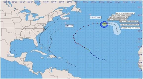 Trayectorias de los Ciclones Tropicales con clasificación de Tormenta Tropical y Huracán en la cuenca del Atlántico, mar Caribe y golfo de México en la Temporada Ciclónica o de Huracanes 2014 (hasta el 21 de septiembre de 2014).