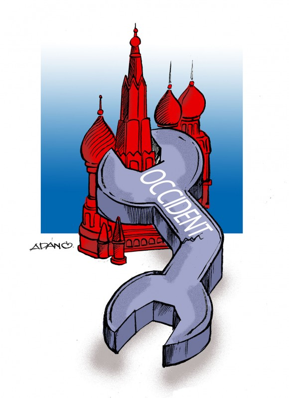 Occidente y Rusia. Caricatura: Adán