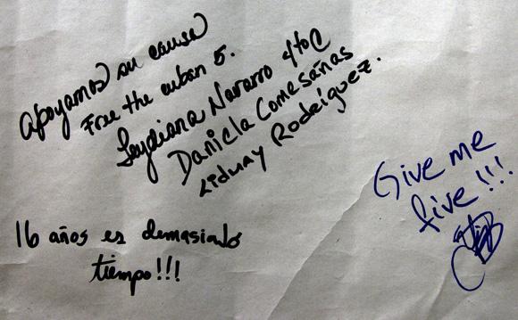 Mensajes de solidaridad con Los Cinco de jóvenes estudiantes cubanos. Foto: Ladyrene Pérez/ Cubadebate.