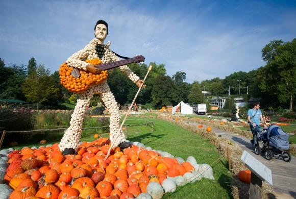 Foto: Una escultura de Elvis es presentada en la feria de hortícola, Alemania. La pieza fue diseñada con calabazas. AFP / Inga Kjer