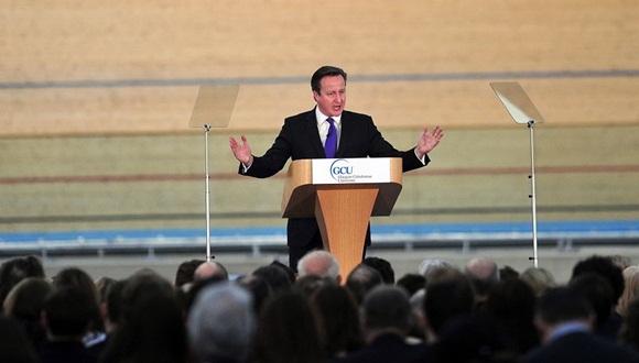 David Cameron durante un discurso sobre el referéndum en Escocia.