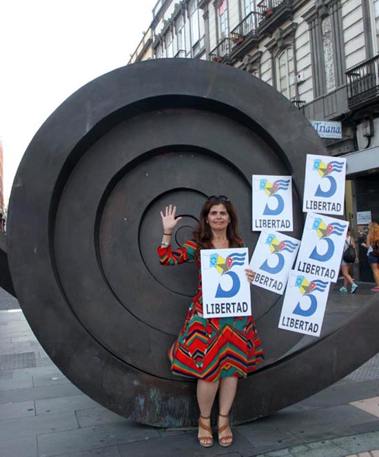 Demostración por los Cinco en Canarias. Foto: Cubainformación