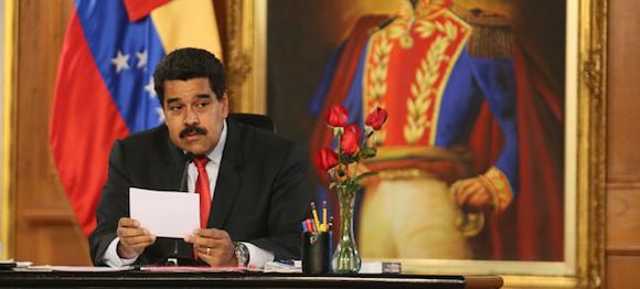 El Presidente venezolano Nicolás Maduro este martes en Miraflores. Foto: Alexander Gómez / AVN