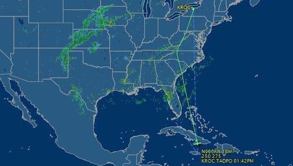 La ruta de la avioneta. Como se puede apreciar, atravesó la Isla antes de estrellarse al norte de Jamaica. Foto: Captura de la página Flight Aware.
