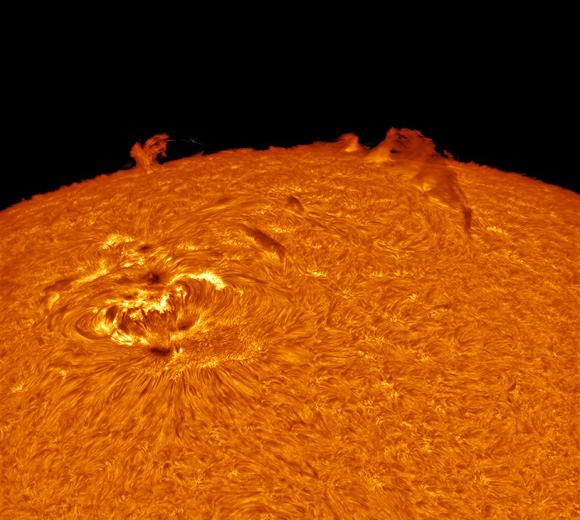 Ondas en el estanque. Alexandra Hart, Reino Unido. Foto tomada con un refractor TEC140, montura EQ6, lentes Solarscope DSF 100mm f/18, y cámara PGR Grasshopper 3.