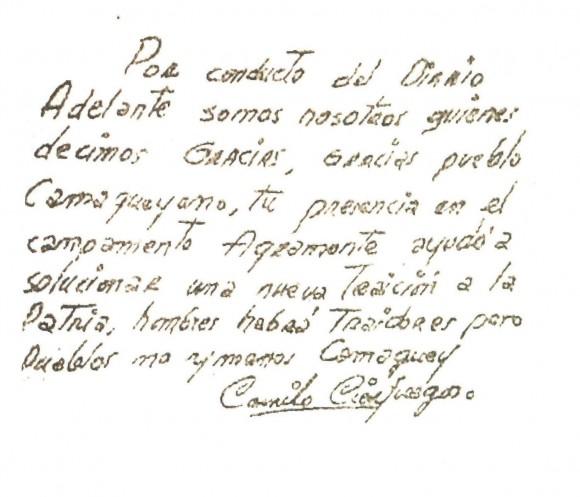 Escrito de Camilo al pueblo camagüeyano el 21 de octubre de 1959. Foto: Archivo del Autor / Cubadebate