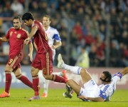 Diego Costa en el juego España-Luxemburgo. Foto: EFE/EPA/NICOLAS BOUVY