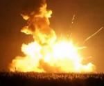 Momento en que Antares estalló este martes. Foto Reuters