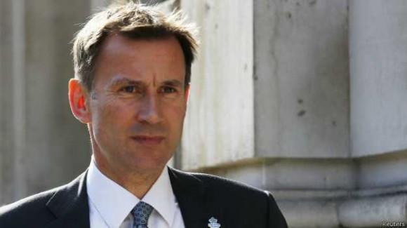Jeremy Hunt, ministro de Salud del Reino Unido. Foto: Reuters.