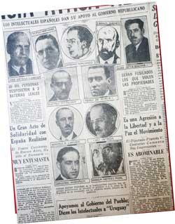 Nota periodística en la que intelectuales apoyan al Gobierno Repúblicano